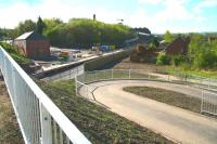 New infrastructure at Newtongrange, photographed on the morning of 26 April 2015, including pedestrian access from the housing developments on the west side of the line to reach the south side of the A7. The platform will be accessible via a ramp and stairway on the east side of the road bridge. [See image 13782] <br><br>[John Furnevel&nbsp;26/04/2015]