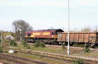 66098 passing Didcot northbound on 15 April 2015 with a trainload of spoil from the Crossrail project.<br><br>[Peter Todd 15/04/2015]