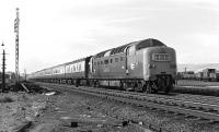 9019 <I>Royal Highland Fusilier</I> roars through Tweedmouth on 19 September 1970 with the 10:30 Aberdeen - Kings Cross. The Deltic will have taken over from a Haymarket Class 47 at Edinburgh Waverley.<br><br>[Bill Jamieson&nbsp;19/09/1970]