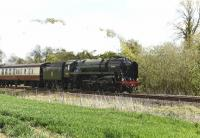 70000 <I>Britannia</I> at speed with the first leg of the <I>'Great Britain VIII'</I> railtour on 28 April 2015. Photographed westbound near Crofton on the GWR Berks and Hants line en route from London Victoria to Penzance. 66122 was bringing up the rear of the train.<br><br>[Peter Todd&nbsp;28/04/2015]