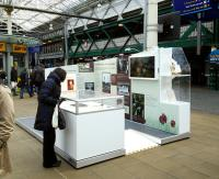 A display on railways during World War 1 on the concourse at Edinburgh Waverley on 29 April 2015.<br><br>[David Panton&nbsp;29/04/2015]