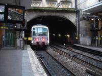 A southbound SNCF RATP Ml79 EMU on a working to Massy-Palaiseau enters the tunnel at the platform end as it departs Cite Universitaire RER Line B station in February 2015.<br><br>[David Pesterfield&nbsp;25/02/2015]
