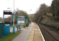 Platform scene at Dolwyddelan in April 2015. To the right of the now singled track through the station is an incline once used to bring down slate from the local quarries.<br><br>[Colin McDonald&nbsp;14/04/2015]