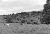 The cow seems to be taking more interest in the photographer than the unusual combination of Nos. 790 <I>Hardwicke</I> and 92220 <I>Evening Star</I>. The train is the LNER Society <I>Gresley Centenarian</I> of 19 June 1976 passing Castley, just north of Wharfedale Viaduct, on the Leeds - Harrogate line. [Ref query 7616].<br><br>[Bill Jamieson&nbsp;19/06/1976]
