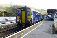 The 14.33 to Glasgow Central via Kilmarnock awaiting its departure time at Girvan on 7 May 2015. Arrival in Central is 16.33, or get off at Ayr at 15.18 and catch the 15.24 via Paisley and arrive at 16.13.<br><br>[Colin Miller&nbsp;07/05/2015]