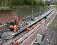 Platform construction work in progress at the south end of Gorebridge station on 10 May 2015. [See image 51246]<br><br>[John Furnevel&nbsp;10/05/2015]