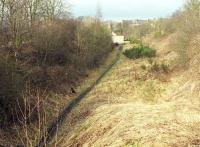 Looking north towards the remains of Gorebridge station in February 2000 [see image 51237]. The station building is obscured by foliage, while the white wall is the  rear of the garage block serving Harvieston Villas, built on the site after closure and since demolished to make way for the reopened railway.   <br><br>[Bill Roberton&nbsp;23/02/2000]