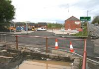 Main entrance to Newtongrange station and car park  from the northbound lane of the A7 on Sunday 10 May 2015.  <br><br>[John Furnevel&nbsp;10/05/2015]