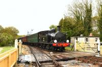 Adams O2 0-4-4T W24 <I>Calbourne</I>, masquerading as W33 <I>Bembridge</I> approaching Haven Street on the Isle of Wight Steam Railway on 9 May 2015.<br><br>[Peter Todd&nbsp;09/05/2015]