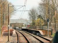 View from a Manchester bound tram approaching Bowker Vale on the Bury line in April 2015. Like other stations on this and the Altrincham line, most of the platform is no longer in use. Only a short section, sufficient for a four car tram, is now maintained to passenger standard. <br><br>[Mark Bartlett&nbsp;20/04/2015]