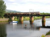 An early afternoon Balloch - Airdrie service crossing the viaduct over the River Leven on 10 July 2005 shortly after leaving Dalreoch on the short hop to Dumbarton Central.<br><br>[John Furnevel&nbsp;10/07/2005]