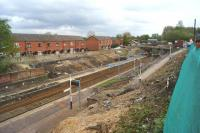 The transformation of Farnworth station is underway on 10 May 2015 with the up platform being removed to allow the realignment of the tracks when the larger tunnel is reopened later in 2015.<br><br>[John McIntyre&nbsp;10/05/2015]