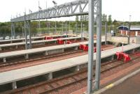 The light maintenance and stabling bays forming part of the ScotRail facilities on the south side of Bathgate station, photographed on 15 May 2015. As you might expect mid-morning on a Friday the bays stand empty.   <br><br>[John Furnevel&nbsp;15/05/2015]