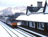 A southbound train runs into Dunkeld station on a bitterly cold January evening in 1991.<br><br>[Ewan Crawford&nbsp;/01/1991]