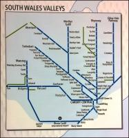 This schematic of the Valley Lines (on an NEC stand belonging to the Welsh inward investment trade body) shows Cwmgrach, Tower Colliery, Cwmbargoed, Machen, Ford Bridgend, and the freight line South-West of Tondu. Gwaun-cae-Gurwen is out of view to the West, while Uskmouth and Glascoed would be shown to the East. Notice also the recently opened stations at Energlyn and at Rogerstone - Ebbw Vale Town clearly wasn't opened quite soon enough.<br><br>[Ken Strachan&nbsp;12/05/2015]