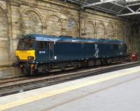 92018 in the simple and elegant Caledonian Sleeper livery stabled in the siding opposite Platform 7 at Edinburgh Waverley on 18 May 2015.<br><br>[David Panton&nbsp;18/05/2015]