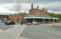 The surviving main station building at Blackburn, fronting on to The Boulevard. The forecourt canopy and the building itself are in very good condition. To the left the much newer platform canopy can be seen, a replacement for the huge train shed that was demolished some years ago. <br><br>[Mark Bartlett 19/05/2015]