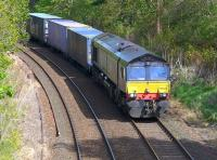 DBS 66423 passes the site of Blackford Hill signalbox on 17 May 2015 with a Coatbridge - Daventry (via Millerhill) intermodal service.<br><br>[Bill Roberton&nbsp;17/05/2015]