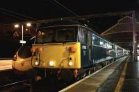 During April 2015 the Caledonian Sleeper produced 87002 on the front on several occasions when Class 92 locomotives were not available. At just before 0100 hrs on the 20th it appeared at Preston once again working the train as far as Edinburgh.<br><br>[John McIntyre&nbsp;20/04/2015]