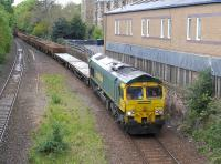 Freightliner 66616 passes the site of Newington Station on 17 May with a Holytown - Millerhill engineers train.<br><br>[Bill Roberton&nbsp;17/05/2015]