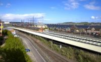 View over  Dundee station towards the Tay Road Bridge on 16th May 2015. The station currently has a temporary entrance in Riverside Drive near the Discovery Point Rotunda.<br><br>[Colin McDonald&nbsp;16/05/2015]