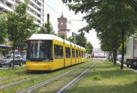 Also available in blue [see image 51249] 'Flexity Berlin' tram, part of the Flexity family, on Karl Liebknecht Strasse on 21 May 2015. Now the most common vehicles on the system, although there are still some GT6N Tatras running. This is in former East Berlin. When the Wall was built, all tram routes in the West were abandoned.<br> <br><br>[Colin Miller&nbsp;21/05/2015]