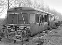 The body of Park Royal railbus SC79971 in use as a bothy at Millerhill Yard on 28 April 1984.  Later that year it would be buried at a landfill site because of asbestos content.<br><br>[Bill Roberton&nbsp;28/04/1984]