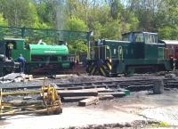 Steam ('Birkenhead') meets diesel ('Louise') in the former mine yard at Elsecar on 4 May 2015. [see image 51231] Mercifully, there was no locomotive called Thelma - nor any 'Thunderbirds'.<br><br>[Ken Strachan&nbsp;04/05/2015]