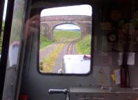 Looking South towards Kirkhaugh on the South Tynedale Railway, through the cab of the diesel locomotive on 22 May 2014 [see image 22542].<br><br>[Ken Strachan&nbsp;22/05/2014]