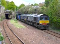 DRS 66302+66434 passing through Newington with the diverted Mossend - Daventry 'Tesco' train, returning from a reversal at Millerhill on 17 May 2015.<br><br>[Bill Roberton&nbsp;17/05/2015]