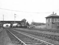 After running through Crosshouse station, Caley <I>Jumbo</I> 57353 is about to pass Crosshouse Junction signal box on 6 May 1953 with empties from the Dalry direction. [See image 45840] <br><br>[G H Robin collection by courtesy of the Mitchell Library, Glasgow&nbsp;06/05/1953]