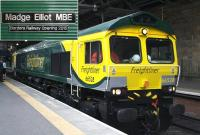 Freightliner 66528 <I>Madge Elliot MBE</I> prepares to leave Waverley station after the naming ceremony on 4th June 2015 [see image 51524].<br><br>[Colin McDonald&nbsp;04/06/2015]