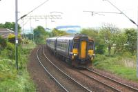 A 6 car Glasgow Queen Street to Oban and Fort William service approaches Cardross on 30 May 2015.<br><br>[John McIntyre&nbsp;30/05/2015]