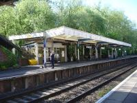 View west along the down platform at Sherborne on 12 May, with anxious looks from passengers awaiting the 09.35 to Exeter (07.10 ex Waterloo). South West trains 159106 arrived shortly afterwards running 33 minutes late. <br><br>[David Pesterfield&nbsp;12/05/2015]