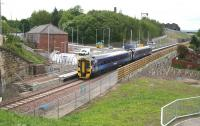 ScotRail 158869 passing Newtongrange station northbound on 9 June 2015 on a Borders Railway driver training run returning from Tweedbank.<br><br>[John Furnevel&nbsp;09/06/2015]
