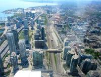 View westward from the CN Tower on 28 May 2015 showing GO Transit locohauled sets that park up all day in Toronto because of the large number of peak-only services using Union Station.<br><br>[John Yellowlees&nbsp;28/05/2015]