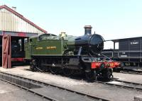 BR (GWR) 2-6-2T 4144, photographed on 11 June 2015 newly restored at the Didcot Railway Centre.<br><br>[Peter Todd&nbsp;11/06/2015]