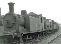 Ex-Caledonian 0-6-0T 56325 standing in a line of steam locomotives 'stored awaiting disposal' in the sidings alongside Motherwell shed on 31 August 1963. Officially withdrawn from here 8 months earlier, the 1910 veteran was eventually cut up at MMS, Wishaw, during December.<br><br>[John Robin&nbsp;31/08/1963]
