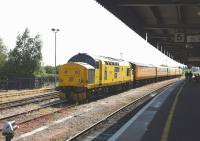 97302 (37170) in Network Rail colours, stabled in the sidings alongside Didcot station on 11 June 2015 at the head of Track Measurement Train.<br><br>[Peter Todd 11/06/2015]