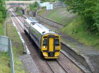 Borders Railway crew training on 15 June. 158741 Southbound past the platforms at Eskbank (Old).  Mind the gap!<br><br>[Bill Roberton&nbsp;15/06/2015]
