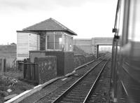 The surviving signal box at Bogside (formerly Bogside Race Course) in the summer of 1985. Photographed from a train passing the site of the station which closed in 1967. [See image 23519]<br><br>[Bill Roberton&nbsp;31/08/1985]
