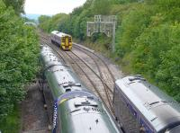 Scene at Dalmeny Junction during the Winchburgh Tunnel diversions on 18 June 2015. 158726 waits its turn to head to Edinburgh from Fife as trains to Dunblane (left) and from Dunblane (right) negotiate the Dalmeny loops.<br><br>[Bill Roberton&nbsp;15/06/2015]
