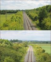Two views, both taken from the B4100 road bridge, of the surviving 5 mile section of the old SMJR line, now used by freight trains accessing the MOD depot at Kineton. The upper view looks east towards the main line at Fenny Compton and the bridge over the M40 can be seen in the distance. The lower view looks west with the line curving left towards the MOD sidings. [Ref query 6951]<br><br>[Mark Bartlett&nbsp;14/06/2015]