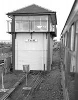 View from a special passing Irvine signal box on 31 August 1985. The train was operating as part of an open day taking place at British Rail's Ayr depot.<br><br>[Bill Roberton&nbsp;31/08/1985]