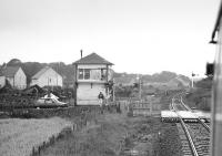 Approaching Gatehead level crossing and signal box on 31 August 1985 on a westbound special. [See image 24153]  <br><br>[Bill Roberton&nbsp;31/08/1985]