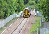 158731 crossing Glenesk Viaduct on its way north on 19 June 2015 during a Tweedbank - Newcraighall crew training turn. <br><br>[John Furnevel&nbsp;19/06/2015]