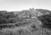 View from a passing train of Hillhouse Quarry and its branch line off the Kilmarnock and Troon, on 31 August 1985. [Ref query 5336]<br><br>[Bill Roberton&nbsp;31/08/1985]