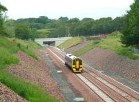 A driver training trip on the double track section of the Borders Railway just north of the former Tynehead station on 26 June 2015. ScotRail unit 158782 is on its way back from Tweedbank to Newcraighall. <br><br>[John Furnevel&nbsp;26/06/2015]