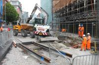 Construction work and tram track laying taking place in Corporation Street near Manchester Victoria station on 25 June 2015 in connection with the planned 'second city crossing'. [See news item]<br><br>[Mark Bartlett&nbsp;25/06/2015]