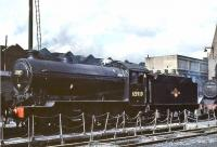 The shed yard at Eastfield in July 1961 with J38 65919 looking resplendent after a visit to the nearby works. A St Margaret's based locomotive throughout the BR period, the Gresley 0-6-0 survived there until 1964. [See image 30406]<br><br>[John Robin&nbsp;/07/1961]